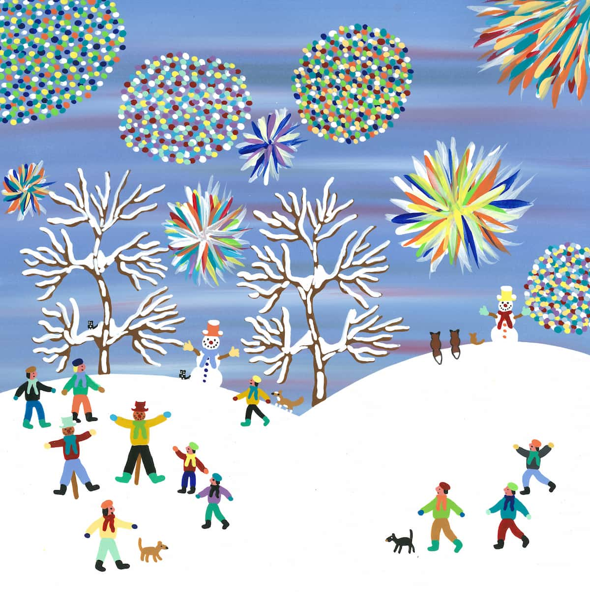 snowy field with fireworks in the distance painting